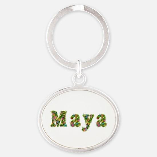 Maya Floral Oval Keychain