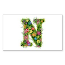 N Floral Rectangle Decal