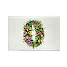 O Floral Rectangle Magnet