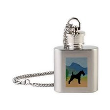 Wild River Wire Fox Terrier Flask Necklace