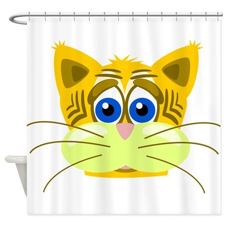 Yellow Cat Shower Curtain