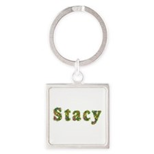 Stacy Floral Square Keychain