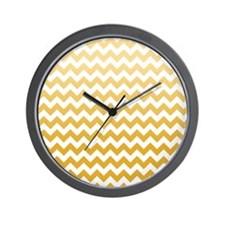 Chevron Stripes - Mustard Wall Clock