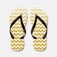 Chevron Stripes - Mustard Flip Flops