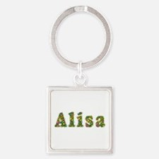 Alisa Floral Square Keychain