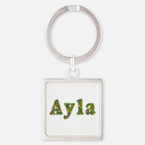 Ayla Floral Square Keychain