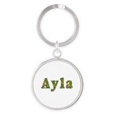 Ayla Floral Round Keychain