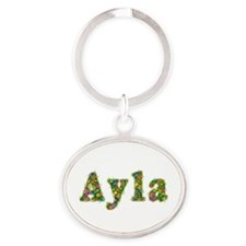 Ayla Floral Oval Keychain