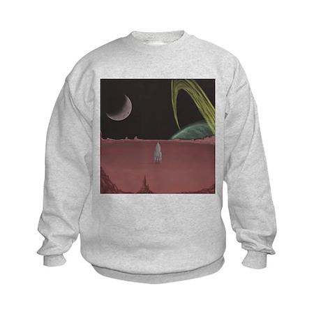 Space Ship on Planet Kids Sweatshirt