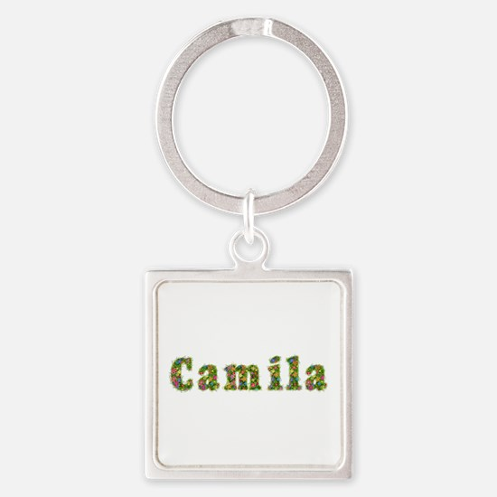 Camila Floral Square Keychain