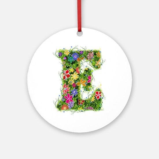 E Floral Round Ornament