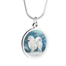 Samoyed and Northern Lights Silver Round Necklace