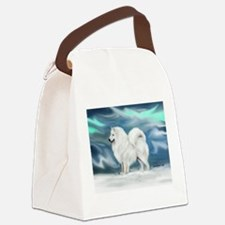 Samoyed and Northern Lights Canvas Lunch Bag