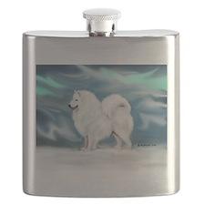 Samoyed and Northern Lights Flask