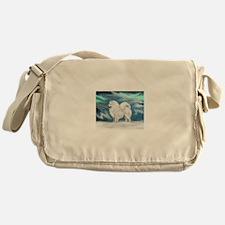 Samoyed and Northern Lights Messenger Bag