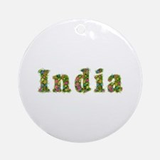 India Floral Round Ornament
