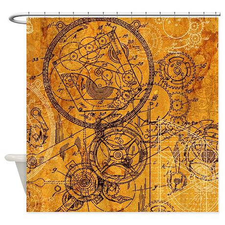 Clockwork Collage Shower Curtain