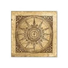 "Old Compass Rose 2 Square Sticker 3"" x 3"""