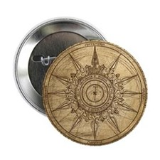 """Old Compass Rose 2 2.25"""" Button"""