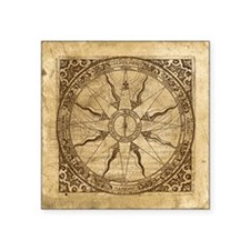 "Old Compass Rose Square Sticker 3"" x 3"""