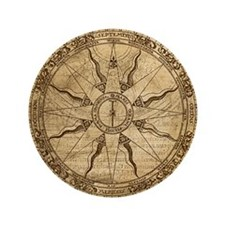 """Old Compass Rose 3.5"""" Button"""
