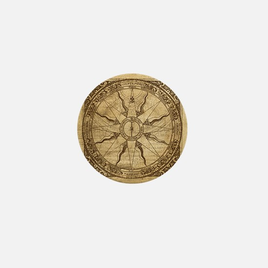 Old Compass Rose Mini Button