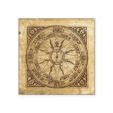 "Old Compass Rose 4 Square Sticker 3"" x 3"""