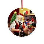 Santa's Manchester Terrier Ornament (Round)