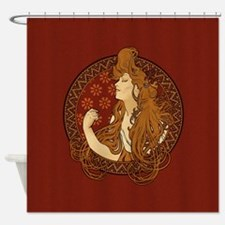 Art Nouveau Long Haired Woman Shower Curtain