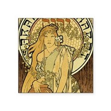 """Art Nouveau Woman Square Sticker 3"""" x 3"""""""