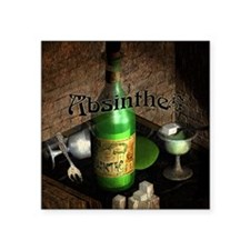 "Absinthe Still Life On Tray Square Sticker 3"" x 3"""