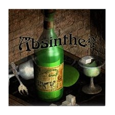 Absinthe Still Life On Tray Tile Coaster
