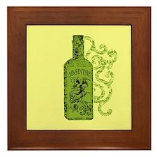 Absinthe Bottle With Swirls Framed Tile