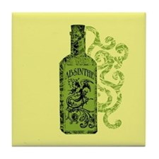 Absinthe Bottle With Swirls Tile Coaster