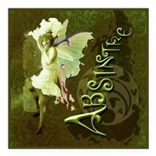 """Absinthe Collage Square Car Magnet 3"""" x 3"""""""