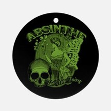 Absinthe Green Fairy Lady Collage Ornament (Round)