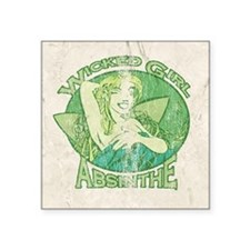 "Vintage Wicked Girl Absinthe Square Sticker 3"" x 3"