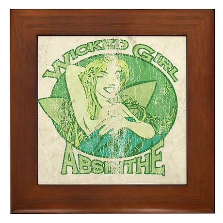 Vintage Wicked Girl Absinthe Framed Tile
