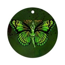 Green Fairy Wings Spread Ornament (Round)