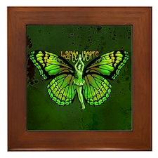 Green Fairy Wings Spread Framed Tile