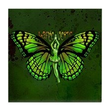 Green Fairy Wings Spread Tile Coaster