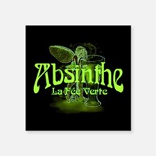 "Absinthe Fairy Dark Square Sticker 3"" x 3"""