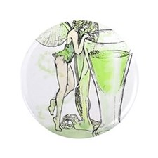"""Absinthe Fairy Toying With Glass 3.5"""" Button"""
