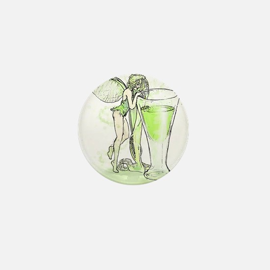 Absinthe Fairy Toying With Glass Mini Button