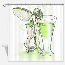 Absinthe Fairy Toying With Glass Shower Curtain