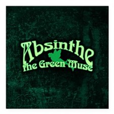 """Absinthe The Green Muse Square Car Magnet 3"""" x 3"""""""