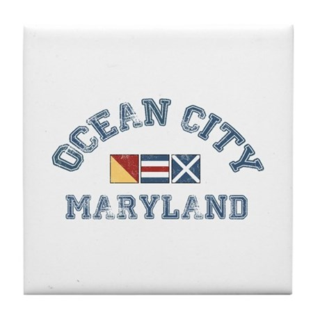 Ocean City MD - Nautical Design. Tile Coaster