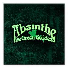 "Absinthe The Green Goddess Square Car Magnet 3"" x"