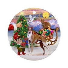 Santa's Treat for his Whippet Ornament (Round)