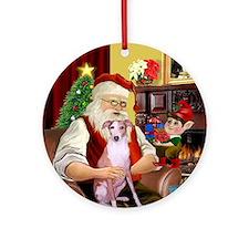 Santa's Whippet Ornament (Round)